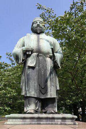 Samourai statue de bronze de combat japonais Banque d'images - 4964966