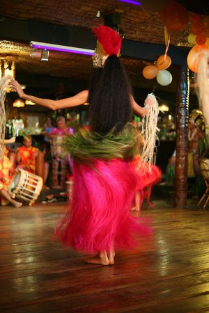 exotic tahitian dance in a club Stock Photo