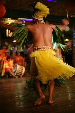 tahitian: exotic tahitian tribal male dancer Stock Photo