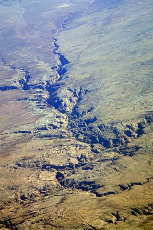 arid valley in rocky mountains aerial view