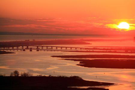long island sunset with bridges and laguna Stock Photo