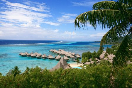 dream turquoise blue lagoon in Tahiti Stock Photo