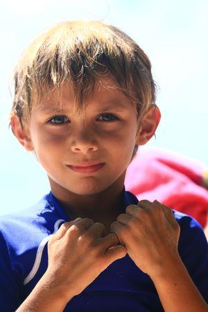 child boy at a tropical beach photo