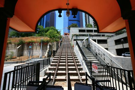 lax: los angeles famous funicular railway in downtown