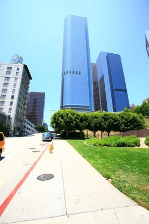 lax: steep street in los angeles downtown area Stock Photo