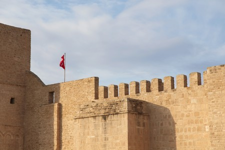 battlements: fortress wall with battlements in Tunisia