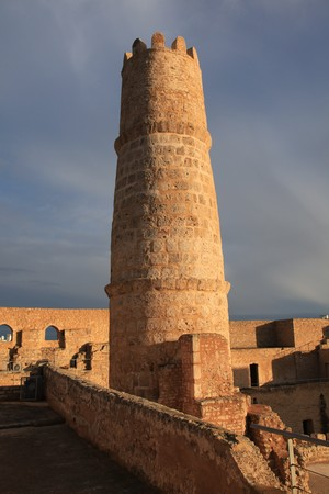 old rock tower in a Tunisia fortress Standard-Bild
