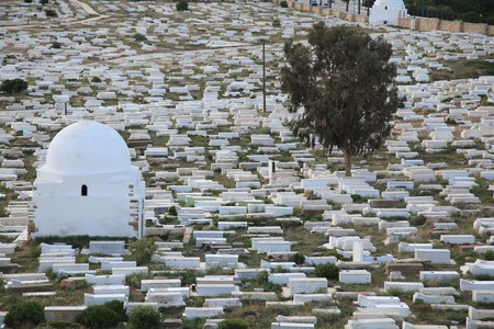 muslim graveyard in Tunisia city