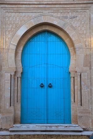 tunisienne porte d'entrée bois Banque d'images - 7133873