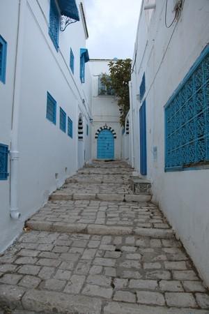paved street in tunisia old city Standard-Bild