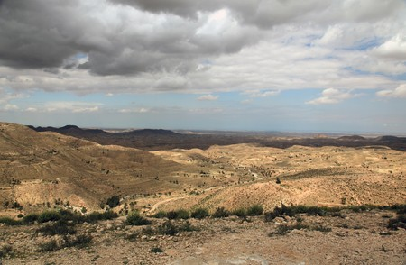 cloudy desert mountain landscape in africa
