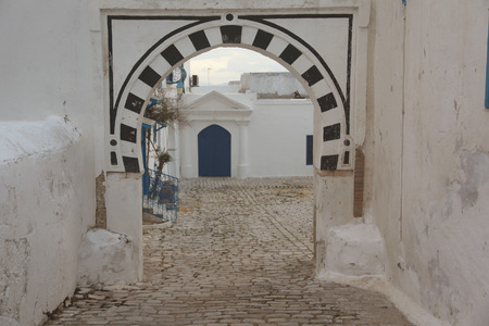 old paved street in tunisian city