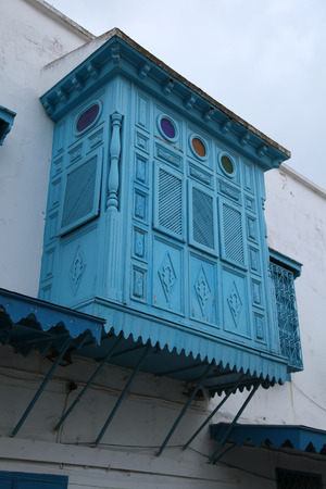 arabic blue wooden balcony in old city street