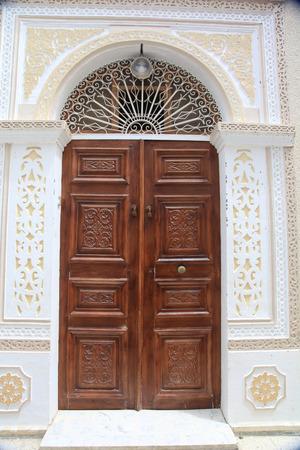 old decorated door in tunisia city