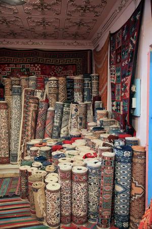 traditional carpet shop in tunisia Stock Photo
