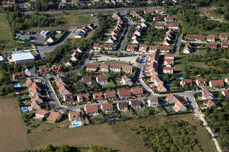 french country village aerial view Stock Photo