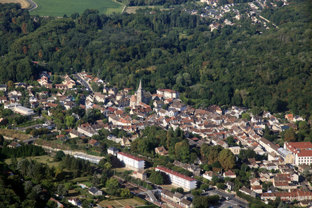 french small town aerial view with church