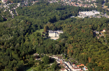 french castle, houses in aerial view