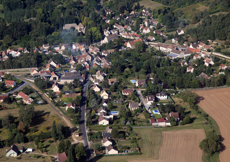 french country village, aerial view