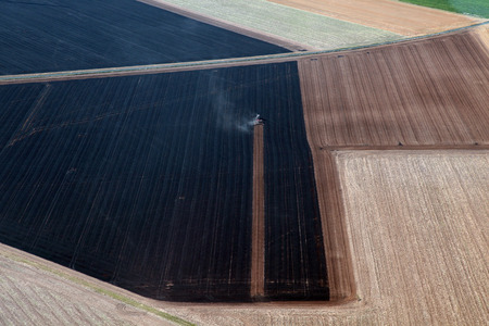 tractor in france aerial view Stock Photo