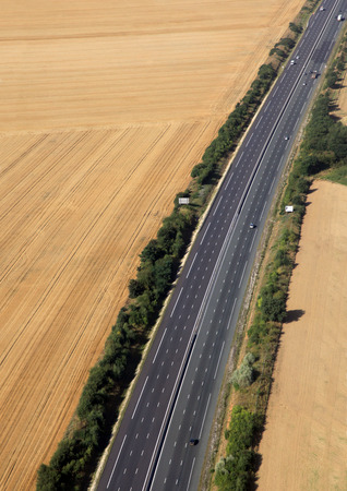 tollway: highway in farmland in france country