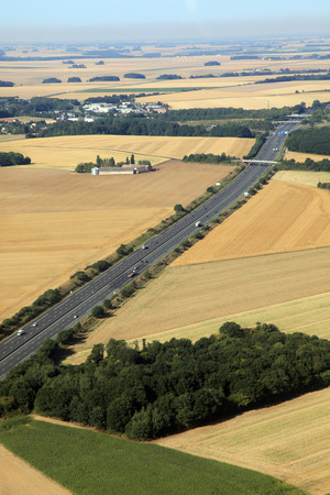 two lanes highway in french farmland