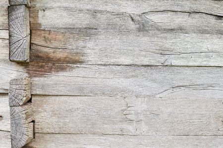 Old white oak wood for background or old grey wooden texture. Wooden beams. Surface eroded by time. More than a hundred years old wood. Old wood background. Copy space.