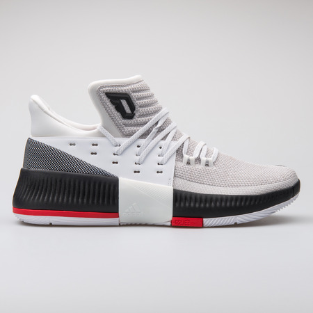 VIENNA, AUSTRIA - AUGUST 7, 2017: Adidas D Lillard 3 black and white sneaker on white background.