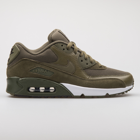 VIENNA, AUSTRIA - AUGUST 7, 2017: Nike Air Max 90 Premium green sneaker on white background.