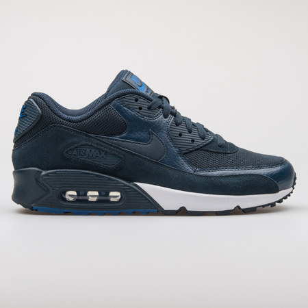 VIENNA, AUSTRIA - AUGUST 7, 2017: Nike Air Max 90 Premium blue sneaker on white background.