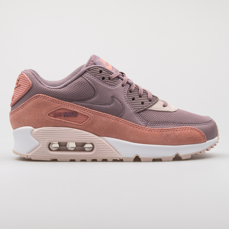 VIENNA, AUSTRIA - AUGUST 7, 2017: Nike Air Max 90 Premium purple and pink sneaker on white background. Editorial