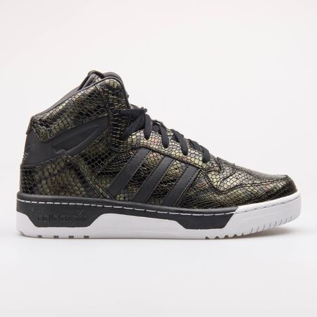 VIENNA, AUSTRIA - AUGUST 23, 2017: Adidas M Attitude Revive black, brown and green sneaker on white background. Editorial