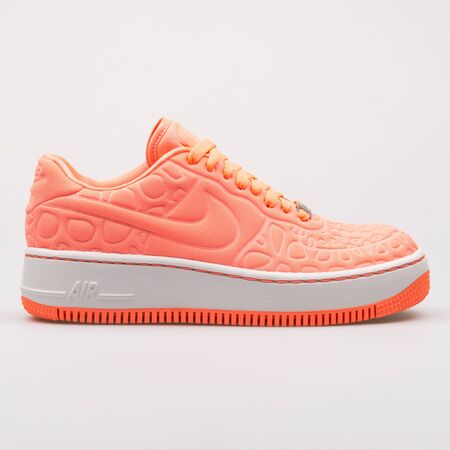 VIENNA, AUSTRIA - AUGUST 30, 2017: Nike Air Force 1 Upstep SE pink sneaker on white background.