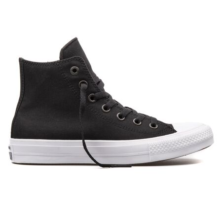 VIENNA, AUSTRIA - AUGUST 10, 2017: Converse Chuck Taylor 2 High black and white sneaker on white background. 報道画像