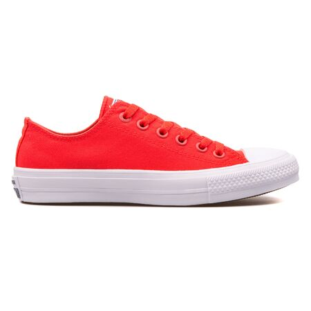 VIENNA, AUSTRIA - AUGUST 10, 2017: Converse Chuck Taylor 2 OX red and white sneaker on white background.