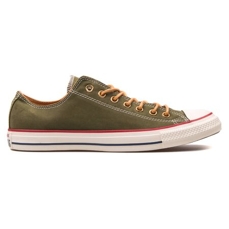 VIENNA, AUSTRIA - AUGUST 10, 2017: Converse Chuck Taylor All Star OX herbal green sneaker on white background. 報道画像