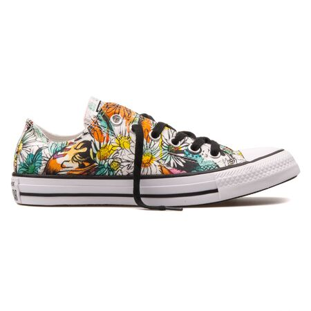 VIENNA, AUSTRIA - AUGUST 10, 2017: Converse Chuck Taylor All Star OX floral print sneaker on white background.