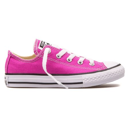 VIENNA, AUSTRIA - AUGUST 10, 2017: Converse Chuck Taylor All Star OX Plastic pink sneaker on white background.