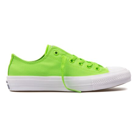 VIENNA, AUSTRIA - AUGUST 10, 2017: Converse Chuck Taylor All Star 2 OX green sneaker on white background.