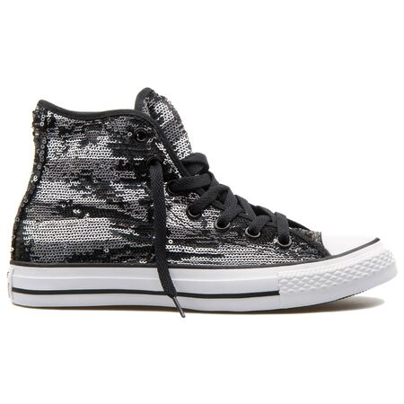 VIENNA, AUSTRIA - AUGUST 25, 2017: Converse Chuck Taylor High black and silver sneaker on white background.