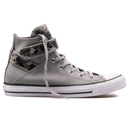 VIENNA, AUSTRIA - AUGUST 25, 2017: Converse Chuck Taylor Brea High Dolphin grey and black sneaker on white background. 報道画像
