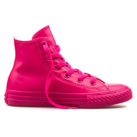 VIENNA, AUSTRIA - AUGUST 25, 2017: Converse Chuck Taylor High Cosmos pink sneaker on white background.