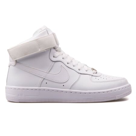 VIENNA, AUSTRIA - AUGUST 25, 2017: Nike Air Force 1 Ultra Force Mid ESS white sneaker on white background.