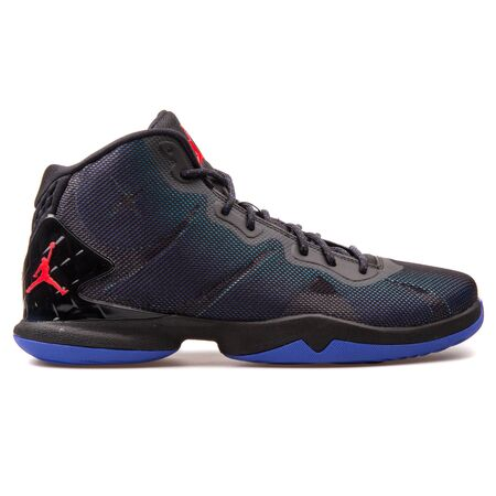 VIENNA, AUSTRIA - AUGUST 25, 2017: Nike Jordan Super Fly 4 black, blue and red sneaker on white background. 新闻类图片