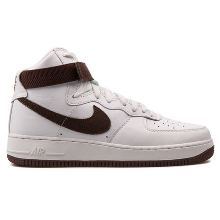 VIENNA, AUSTRIA - AUGUST 25, 2017: Nike Air Force 1 High Retro QS white and brown sneaker on white background.