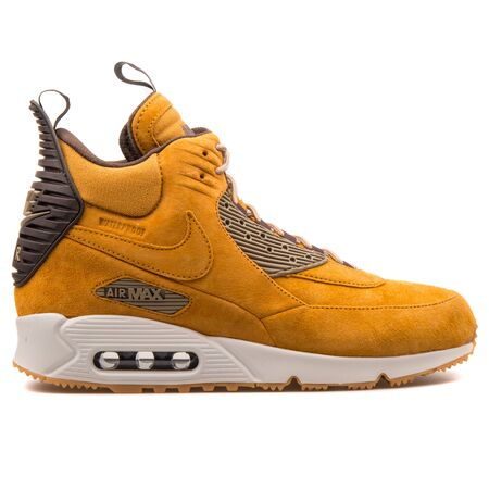 VIENNA, AUSTRIA - AUGUST 25, 2017: Nike Air Max 90 Mid Winter brown and black sneaker on white background.