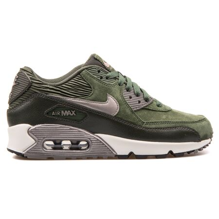 VIENNA, AUSTRIA - AUGUST 25, 2017: Nike Air Max 90 Leather green, black and metallic silver sneaker on white background.