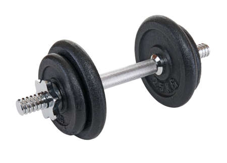 Black dumbbell for sport on white background  photo