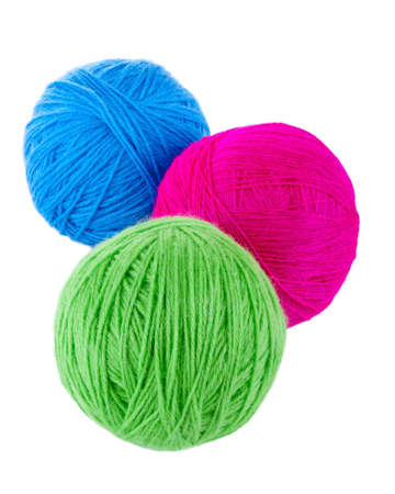 balls of yarn: Balls of blue, red and green wool isolated on a white background