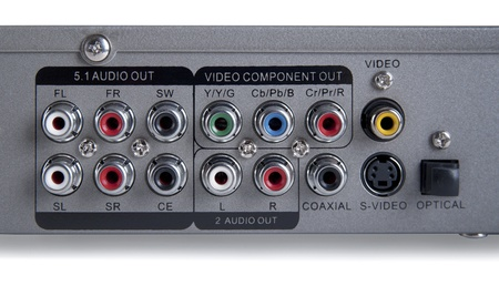 input output: Audio Video input output Connection Panel  Stock Photo